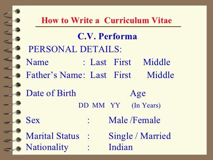 curriculum vitae writing .ppt
