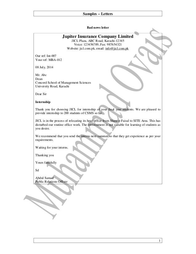 Samples – Letters 1 Bad news letter Jupiter Insurance Company Limited JICL Plaza, ABC Road, Karachi-12345 Voice: 123456789...