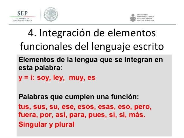 4. Integración de elementos funcionales del lenguaje escrito Elementos de la lengua que se integran en esta palabra: y = i...