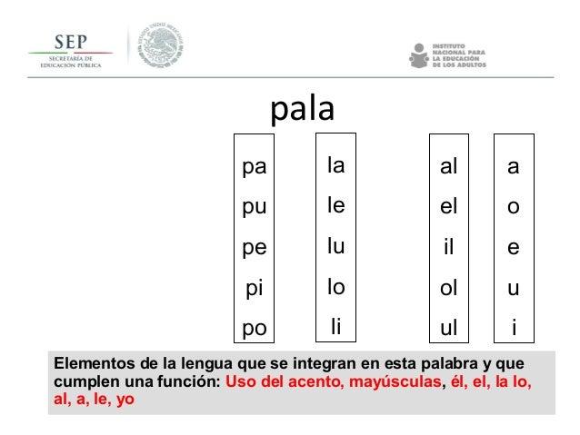 Elementos de la lengua que se integran en esta palabra y que cumplen una función: Uso del acento, mayúsculas, él, el, la l...