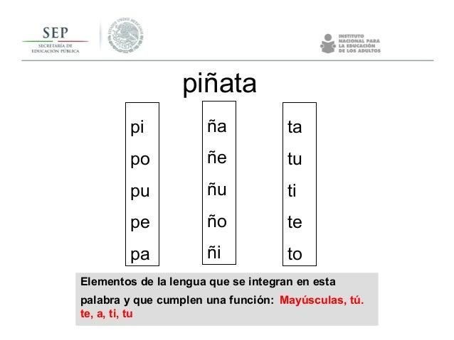 Elementos de la lengua que se integran en esta palabra y que cumplen una función: Mayúsculas, tú. te, a, ti, tu piñata pi ...