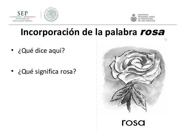 Incorporación de la palabra rosa • ¿Qué dice aquí? • ¿Qué significa rosa?