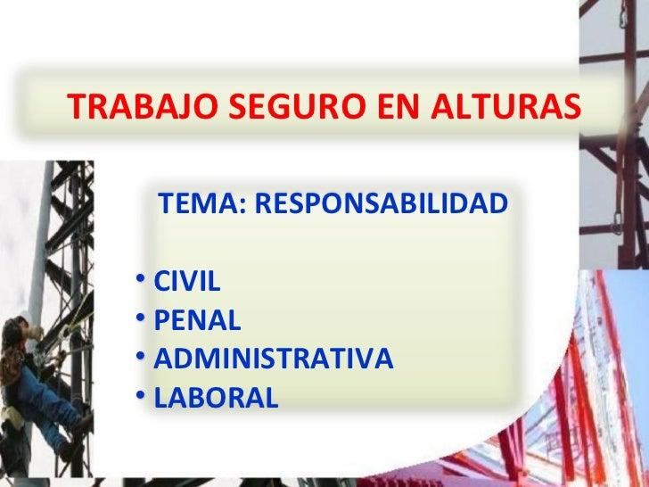 TRABAJO SEGURO EN ALTURAS <ul><li>TEMA: RESPONSABILIDAD </li></ul><ul><li>CIVIL </li></ul><ul><li>PENAL </li></ul><ul><li>...