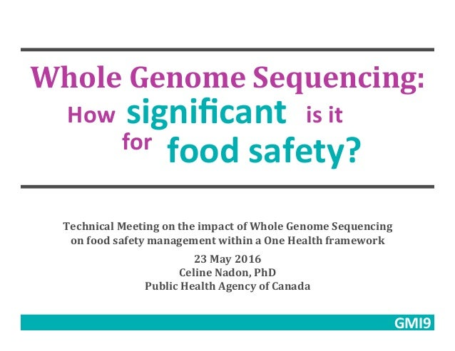 Whole	Genome	Sequencing:	 How	 significant	 is	it	 for	 food	safety?	 Technical	Meeting	on	the	impact	of	Whole	Genome	Seque...
