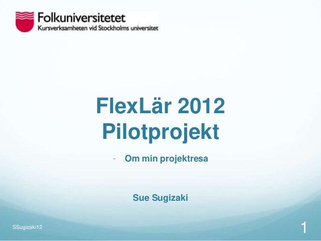 FlexLär 2012              Pilotprojekt               - Om min projektresa                   Sue SugizakiSSugizaki12       ...