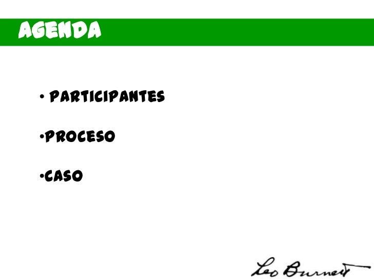 Agenda • Participantes •Proceso •Caso