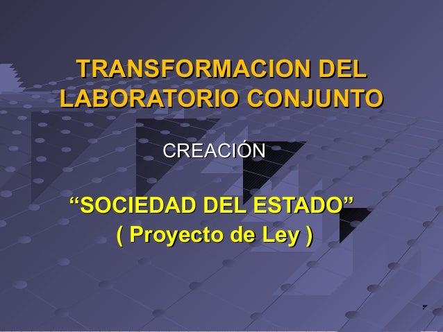 """TRANSFORMACION DEL LABORATORIO CONJUNTO CREACIÓN  """"SOCIEDAD DEL ESTADO"""" ( Proyecto de Ley )"""