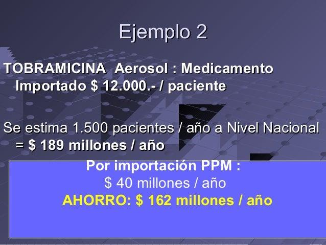 Ejemplo 2 TOBRAMICINA Aerosol : Medicamento Importado $ 12.000.- / paciente Se estima 1.500 pacientes / año a Nivel Nacion...