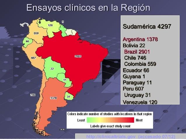 Ensayos clínicos en la Región Sudamérica 4297 Argentina 1378 Bolivia 22 Brazil 2901 Chile 746 Colombia 559 Ecuador 66 Guya...
