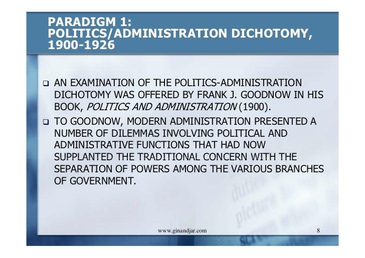 Administrative and Politics Dichotomy