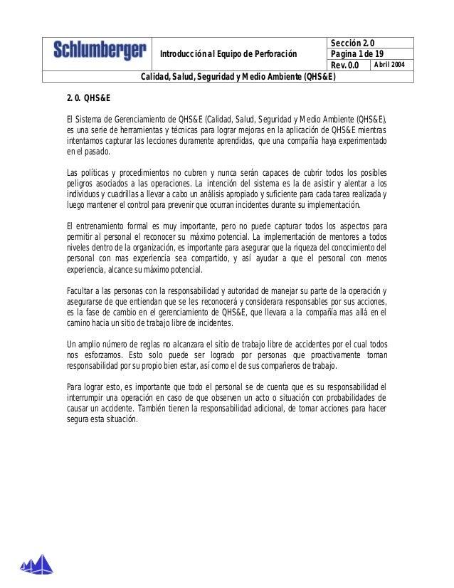 Sección 2. 0 Pagina 1 de 19Introducción al Equipo de Perforación Rev. 0.0 Abril 2004 Calidad, Salud, Seguridad y Medio Amb...