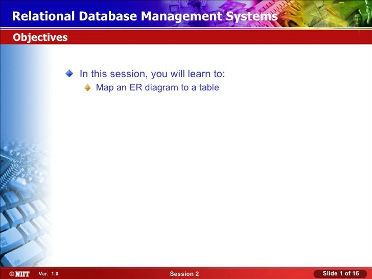 Relational Database Management SystemsObjectives               In this session, you will learn to:                  Map an...