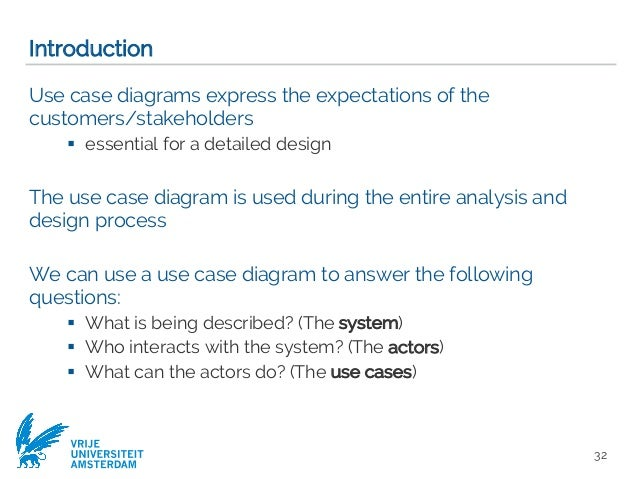 Requirements engineering with uml software modeling computer scien 32 vrije universiteit amsterdam introduction use case diagrams express the expectations of ccuart Gallery
