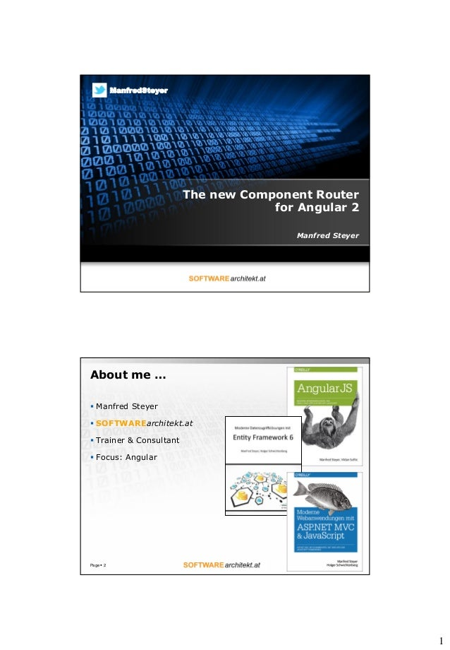 1 The new Component Router for Angular 2 Manfred Steyer ManfredSteyer About me …  Manfred Steyer  SOFTWAREarchitekt.at ...