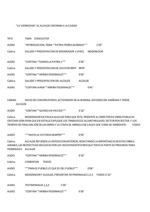 """""""LA VIERNESINA"""":ELALCALDE INFORMA A LA CIUDAD TIPO TEMA CONDUCTOR AUDIO """"INTRODUCCION,TEMA """"""""PATRIA TIERRA SAGRADA"""""""""""" 1´00..."""