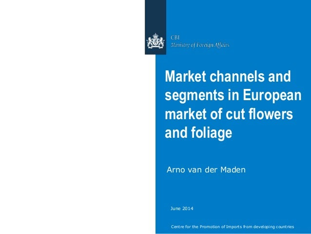 Centre for the Promotion of Imports from developing countries Market channels and segments in European market of cut flowe...