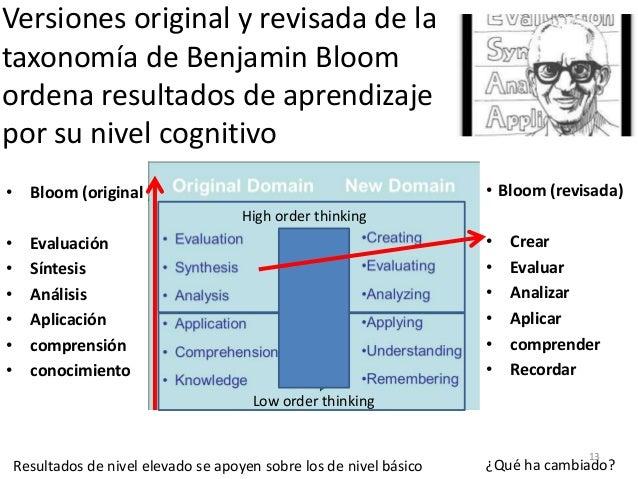 Versiones original y revisada de la taxonomía de Benjamin Bloom ordena resultados de aprendizaje por su nivel cognitivo • ...