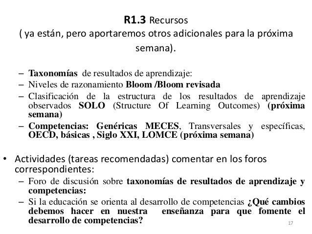 R1.3 Recursos ( ya están, pero aportaremos otros adicionales para la próxima semana). – Taxonomías de resultados de aprend...