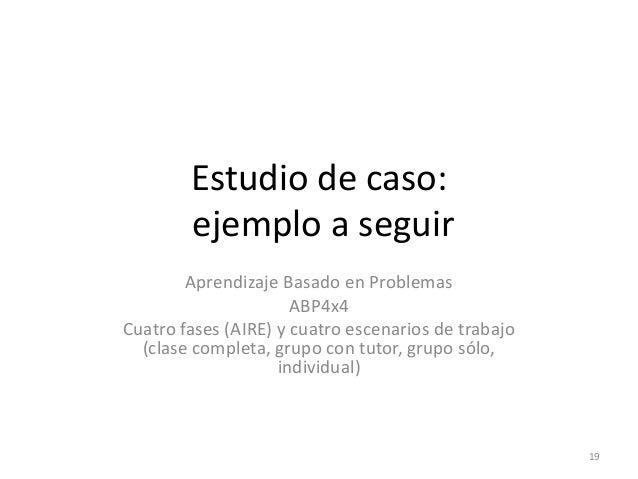 Estudio de caso: ejemplo a seguir Aprendizaje Basado en Problemas ABP4x4 Cuatro fases (AIRE) y cuatro escenarios de trabaj...