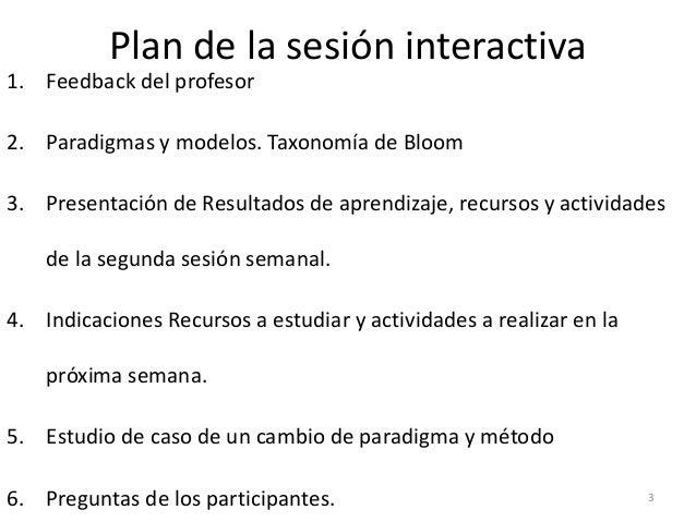 Plan de la sesión interactiva 1. Feedback del profesor 2. Paradigmas y modelos. Taxonomía de Bloom 3. Presentación de Resu...