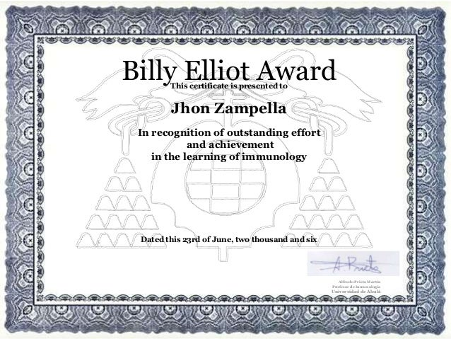 This certificate is presented to Jhon Zampella In recognition of outstanding effort and achievement in the learning of imm...