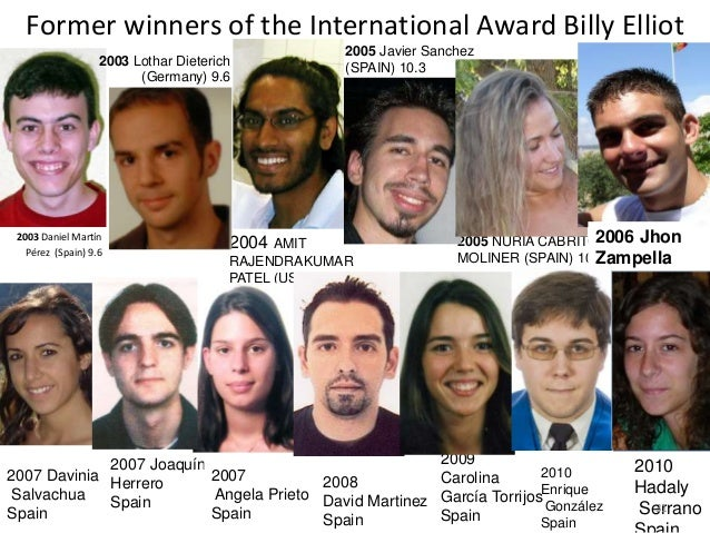 Former winners of the International Award Billy Elliot 2003 Daniel Martín Pérez (Spain) 9.6 2005 NURIA CABRITO MOLINER (SP...