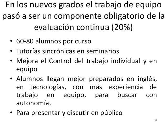 En los nuevos grados el trabajo de equipo pasó a ser un componente obligatorio de la evaluación continua (20%) • 60-80 alu...