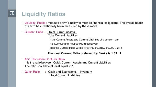 liquidity measurement ratios An introduction to financial ratios and ratio analysis liquidity ratios provide information about a firm's ability to meet its short-term financial obligations.