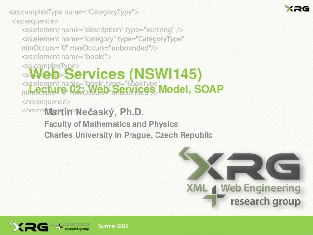 Web Services (NSWI145)Lecture 02: Web Services Model, SOAP  Martin Nečaský, Ph.D.  Faculty of Mathematics and Physics  Cha...