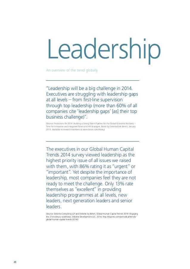 Human Capital Trends 2014 South Africa 21 Global EMEA South Africa 2 4 3 9 12 11 46 48 48 43 37 38 Leadership 77% Retentio...