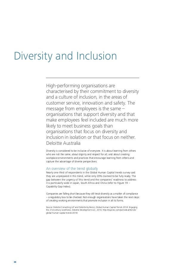 Human Capital Trends 2014 South Africa 39 The link between gender diversity and business outcomes is evidenced in the perf...