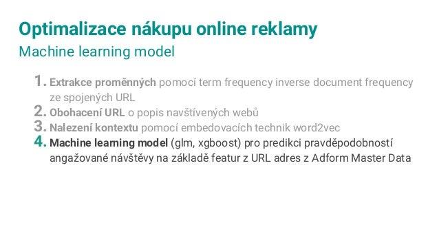 MÍRA NÁVŠTĚVY PRO MODELEM VYBRANÉ SKUPINY UŽIVATELŮ Optimalizace nákupu online reklamy Přínos ML modelu pro predikci angaž...
