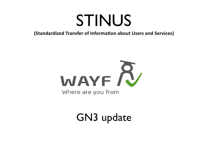 STINUS(StandardizedTransferofInforma2onaboutUsersandServices)                  GN3 update