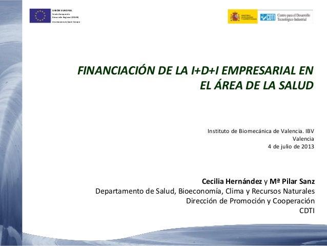 UNIÓN EUROPEA Fondo Europeo de Desarrollo Regional (FEDER) Una manera de hacer Europa FINANCIACIÓN DE LA I+D+I EMPRESARIAL...