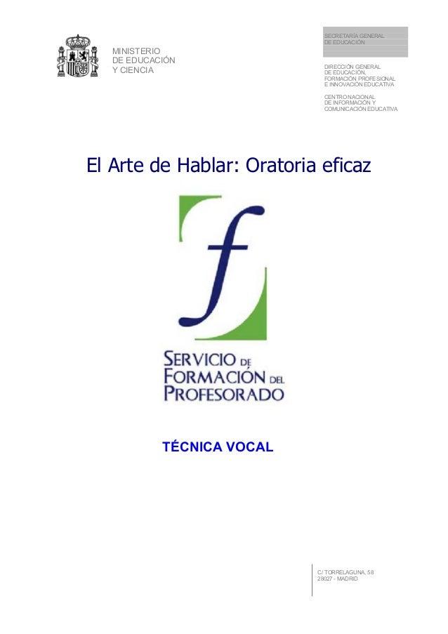 MINISTERIO DE EDUCACIÓN Y CIENCIA SECRETARÍA GENERAL DE EDUCACIÓN DIRECCIÓN GENERAL DE EDUCACIÓN, FORMACIÓN PROFESIONAL E ...