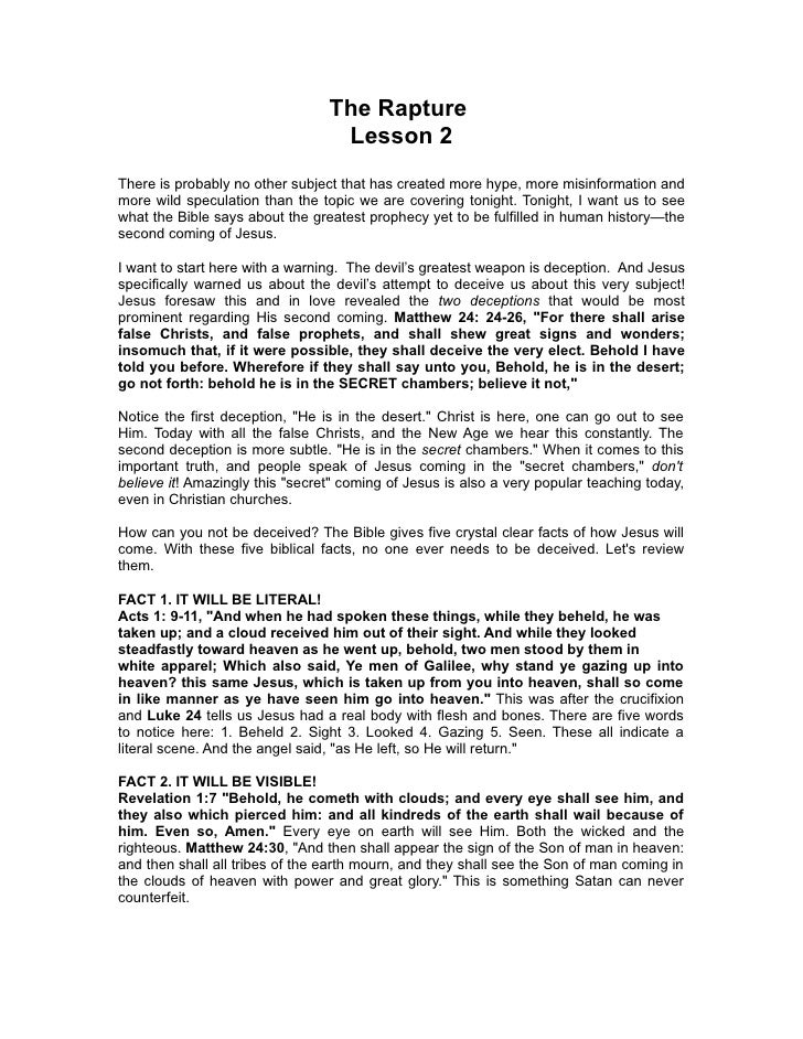 The Rapture                                  Lesson 2There is probably no other subject that has created more hype, more m...