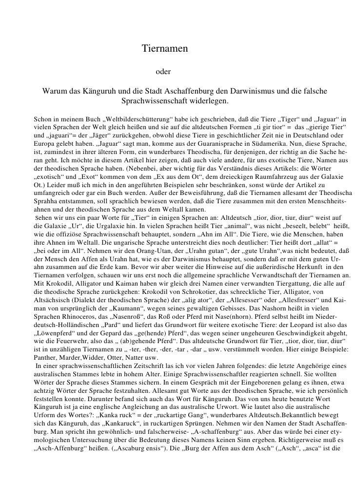 Tiernamen oder Warum das Känguruh und die Stadt Aschaffenburg den Darwinismus und die falsche Sprachwissenschaft widerlegen.