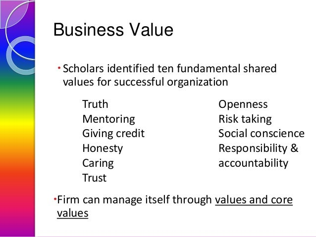 Business Value  Scholars identified ten fundamental shared values for successful organization Truth Mentoring Giving cred...