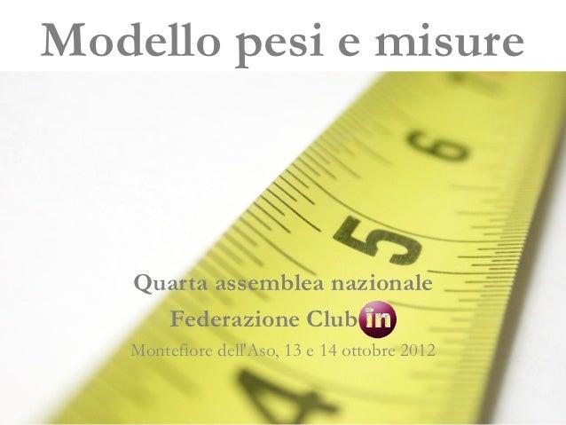 Modello pesi e misure    Quarta assemblea nazionale      Federazione Club   Montefiore dellAso, 13 e 14 ottobre 2012