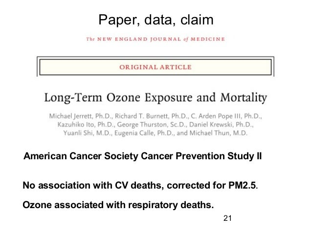 Paper, data, claim American Cancer Society Cancer Prevention Study II No association with CV deaths, corrected for PM2.5. ...