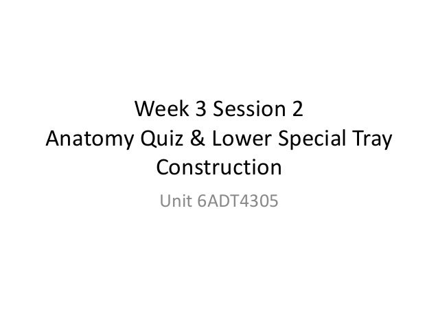 Week 3 Session 2 Anatomy Quiz & Lower Special Tray Construction Unit 6ADT4305