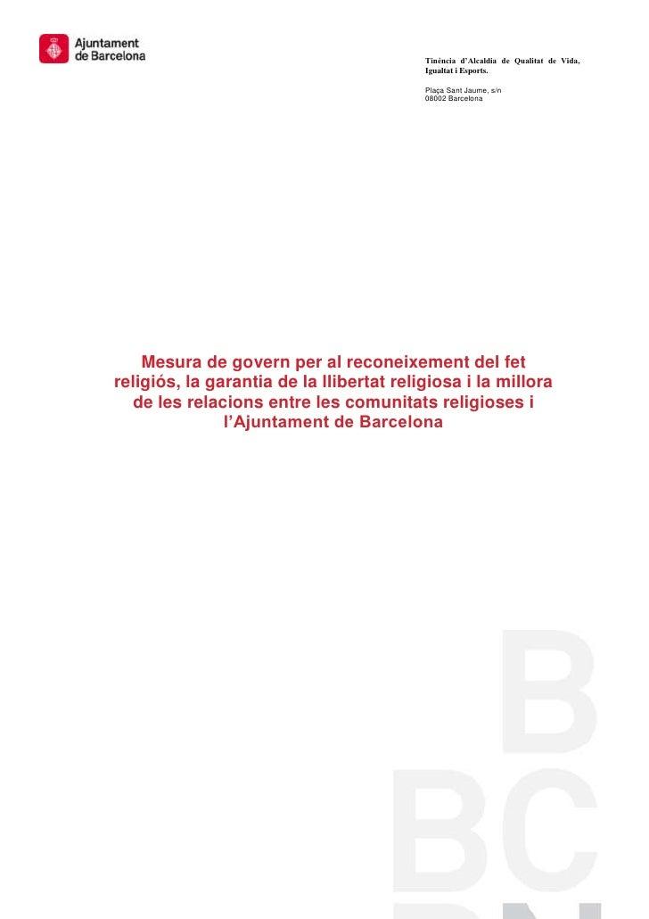 Tinència d'Alcaldia de Qualitat de Vida,                                          Igualtat i Esports.                     ...