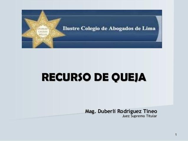 RECURSO DE QUEJA      Mag. Duberlí Rodríguez Tineo                    Juez Supremo Titular                                ...