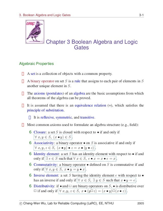 3. Boolean Algebra and Logic Gates                                               3-1                 Chapter 3 Boolean Alg...