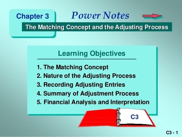 Chapter 3        Power Notes  The Matching Concept and the Adjusting Process            Learning Objectives     1. The Mat...