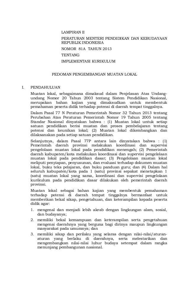 LAMPIRAN II PERATURAN MENTERI PENDIDIKAN DAN KEBUDAYAAN REPUBLIK INDONESIA NOMOR 81A TAHUN 2013 TENTANG IMPLEMENTASI KURIK...
