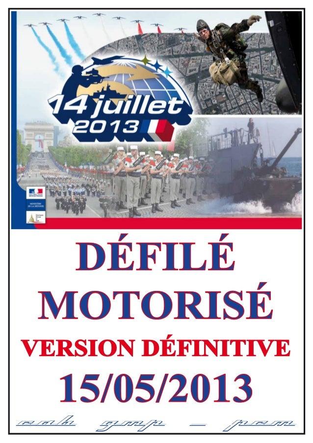 15/05/2013 CAB GMP / PCM DÉFILÉ MOTORISÉ VERSION DÉFINITIVE