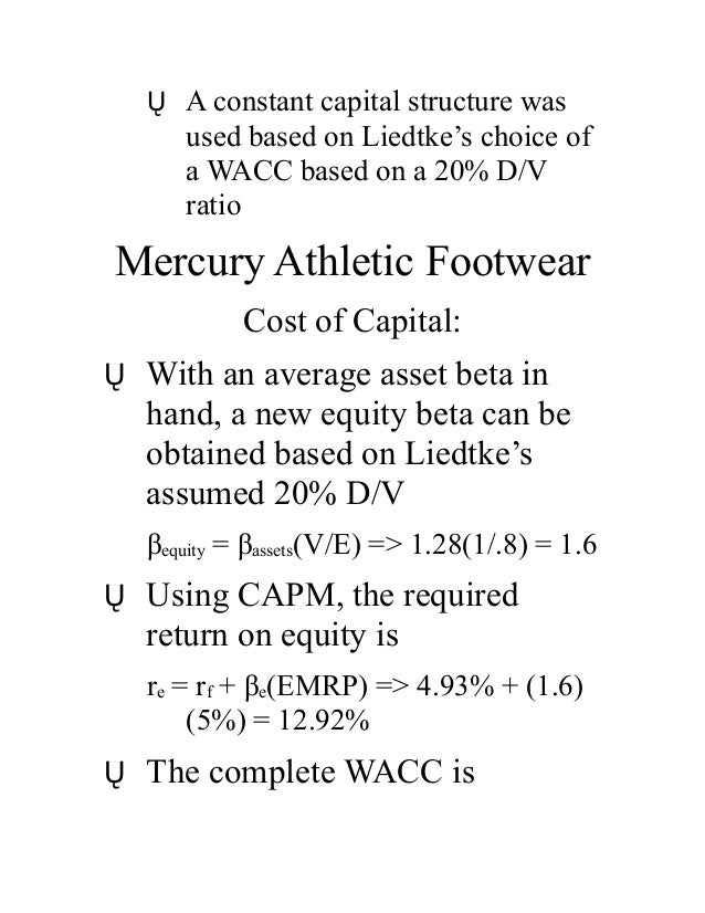 mercury athletic valuing Estimate the value of mercury using a discounted cash flow approach and   valuation in corporate finance bufn 750 case 1: mercury athletic.