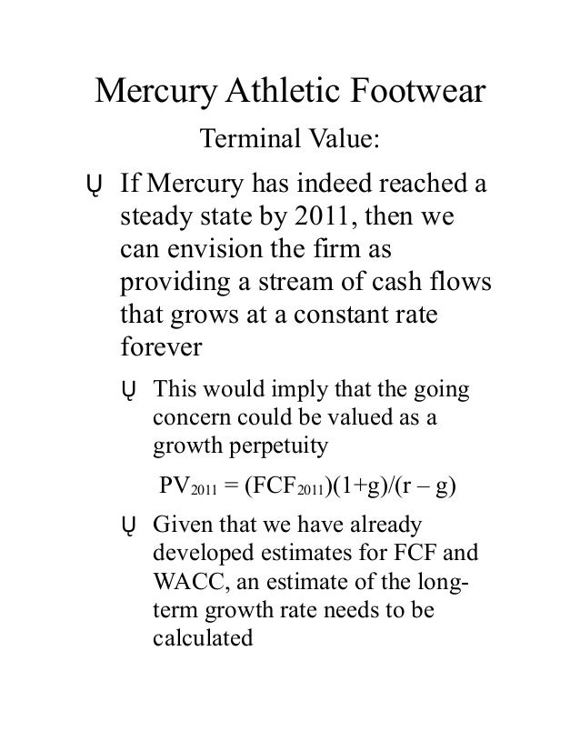 mercury athletic footwear valuing the opportunity What is the value of nsi using multiples valuation  of nationscape inc  mercury athletic footwear: valuing the opportunity rosetta stone: pricing  the.