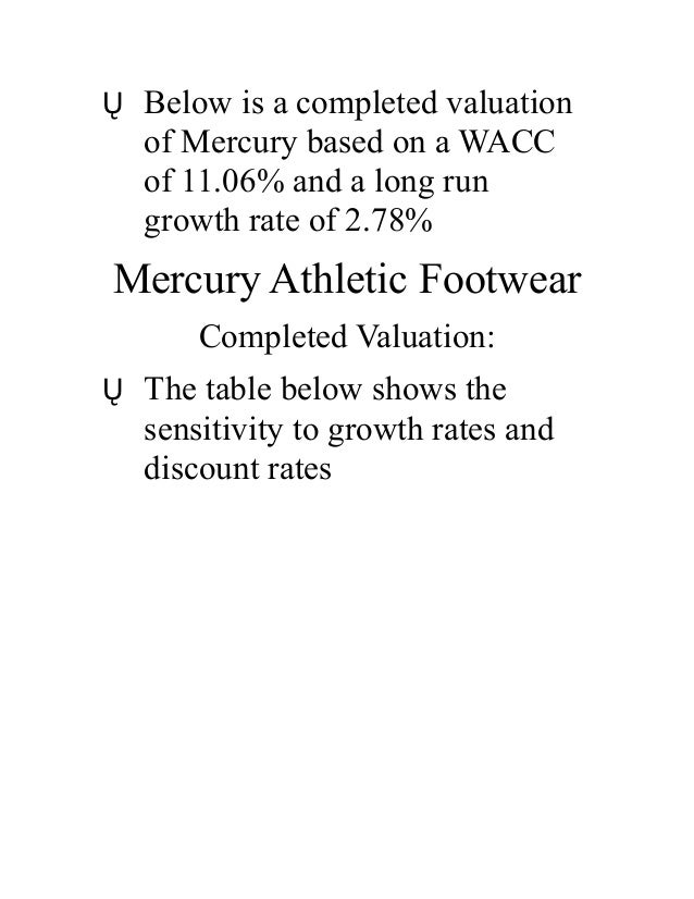mercury athletic footwear wacc Get this from a library mercury athletic footwear : valuing the opportunity [timothy a luehrman joel l heilprin] -- in january 2007, west coast fashions, inc, a large designer and marketer of branded apparel, announced a strategic reorganization that would result in the divestiture of their wholly owned footwear .